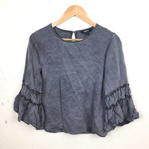 Express Gray Bell Sleeve Boxy Blouse Top Small
